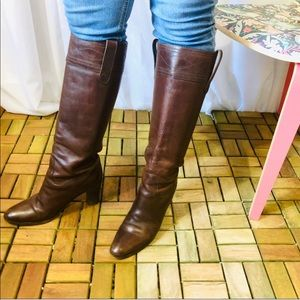 J. Crew Italian Leather Top Stitch Riding Boots